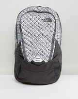The North Face Vault Backpack 28 Litres In Grey/Chainlink Print