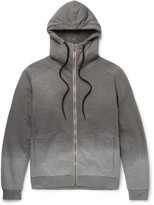 Tomas Maier - Faux Shearling-lined Ombré Cotton-jersey Zip-up Hoodie