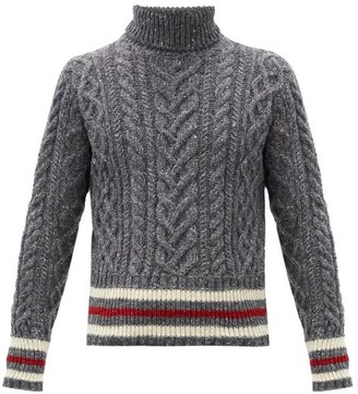 Thom Browne Striped Cable-knit Wool-blend Sweater - Grey