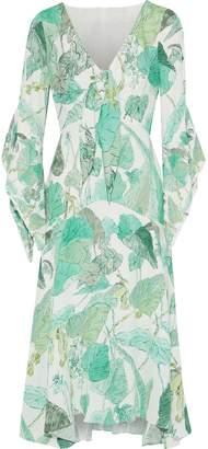 Peter Pilotto Tie-front Printed Crepe De Chine Midi Dress