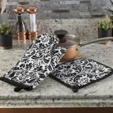 Lavish Home Damask Quilted 2 Piece Oven Mitt and Pot Holder Set