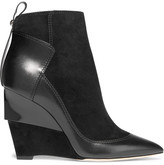 Jimmy Choo Damsen Leather And Suede Wedge Ankle Boots - Black