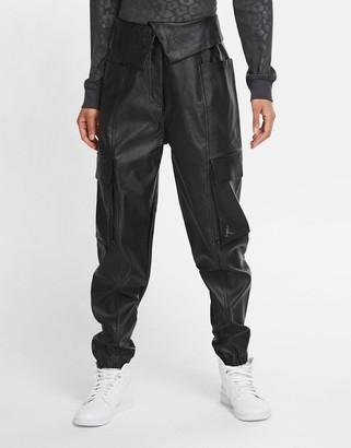Jordan Nike CTR faux leather utility pants in black