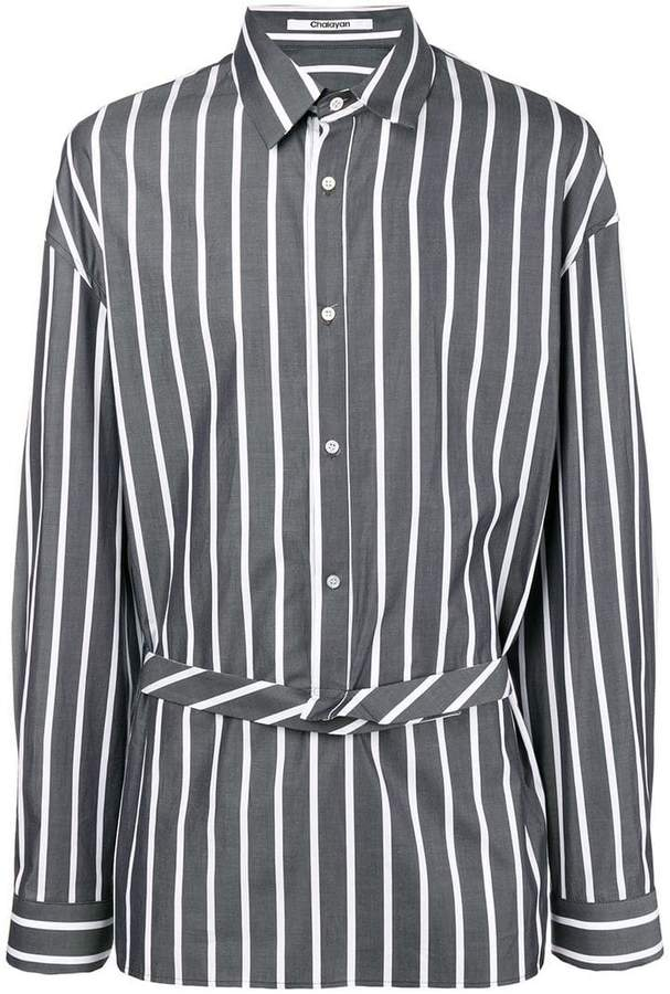 Chalayan extended placket striped shirt