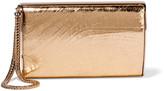 Jimmy Choo Carmen metallic cracked-leather box clutch