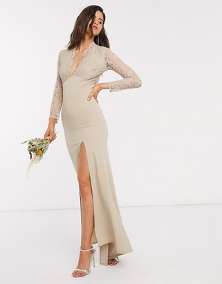 TFNC Bridesmaid long sleeve lace scallopd maxi with ruched back in sand