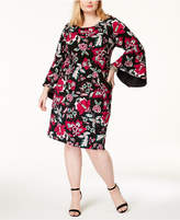 INC International Concepts I.N.C. Plus Size Printed Bell-Sleeve Dress, Created for Macy's