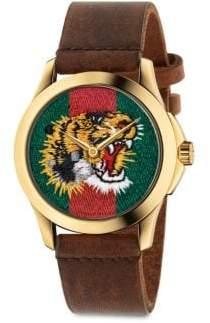 Gucci Le Marche Des Merveilles Tiger Yellow Goldtone PVD& Leather Strap Watch
