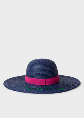 Paul Smith Women's 'Hello' Floppy Navy Straw Sun Hat