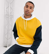 Asos Design DESIGN Tall oversized hoodie with funnel neck and colour blocking in navy yellow & white