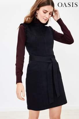 Oasis Womens Black Frill Shift Dress - Black