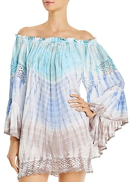 Surf.Gypsy Tie-Dyed Off-the-Shoulder Dress Swim Cover-Up