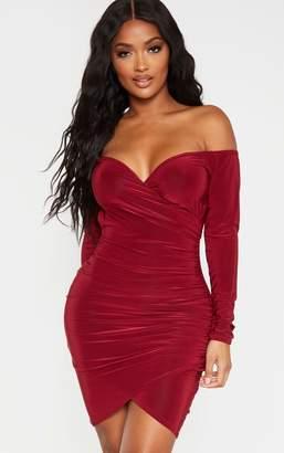 PrettyLittleThing Shape Burgundy Ruching Bardot Bodycon Dress