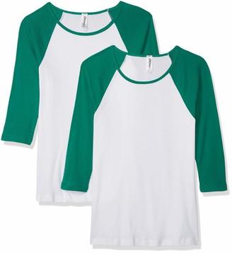 Marky G Apparel Women's Baby Rib 3/4-Sleeve Contrast Raglan T-Shirt-2 Pack