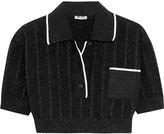 Miu Miu Cropped metallic knitted top