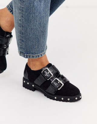 Asos Design DESIGN Medium chunky studded flat shoes with buckle in black