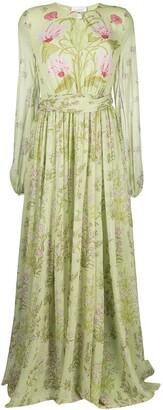 Giambattista Valli Draped Silk Floral-Print Gown