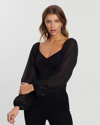 Atmos & Here Atmos&Here - Women's Black Evening Tops - Xanthe Bodysuit - Size 6 at The Iconic