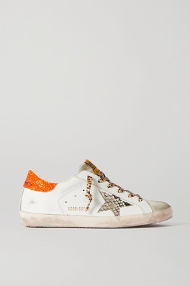 Golden Goose Superstar Glittered Distressed Leather And Suede Sneakers - White