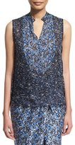 Elie Tahari Lacey Sleeveless Floral-Print Blouse, Stargazer