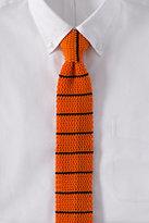 Classic Men's Long Breton Knit Stripe Tie-Orange Poppy Stripe