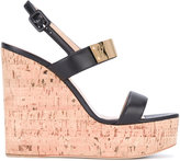 Giuseppe Zanotti Design cork wedge sandals - women - Leather/Cork/Brass - 36.5