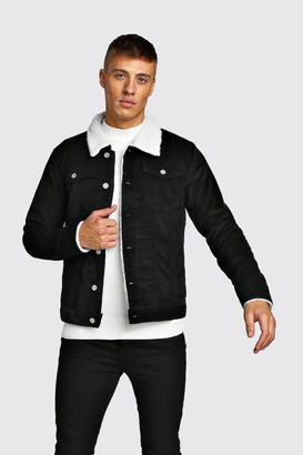 boohoo Mens Black Cord Jacket With Borg Collar, Black