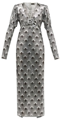 Paco Rabanne Art Deco-printed Chainmail Dress - Womens - Silver