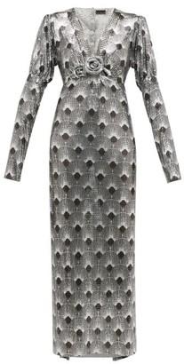Paco Rabanne Art Deco Printed Chainmail Dress - Womens - Silver