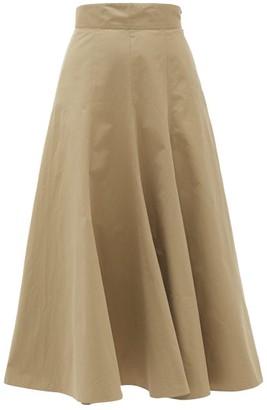 Three Graces London Amelina High-rise Cotton-poplin Skirt - Khaki