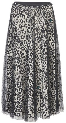 RED Valentino Animal Print And Lace Long Skirt