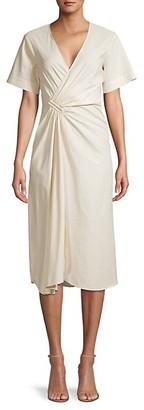 A.L.C. Ruched Linen-Blend Faux Wrap Dress