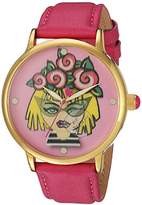 Betsey Johnson Women's Quartz Metal and Leather Casual Watch