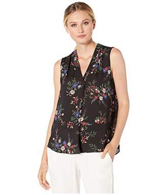 Vince Camuto Women's Sleeveless V-Neck Country Bouquet Blouse