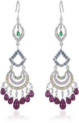 Rakam Jewellery Ruby, Sapphire & Diamond Dangling Earrings In 18K White Gold