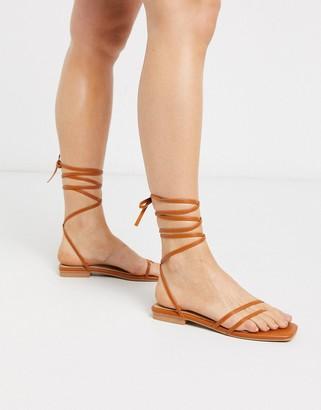 Raid Summer ankle tie gladiator sandal in tan