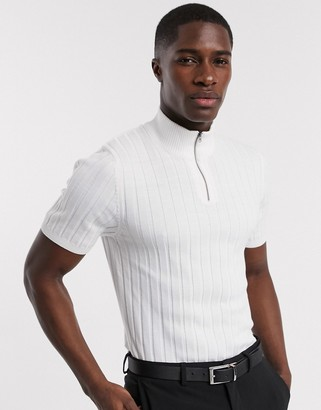 ASOS DESIGN knitted muscle fit half zip ribbed t-shirt in white