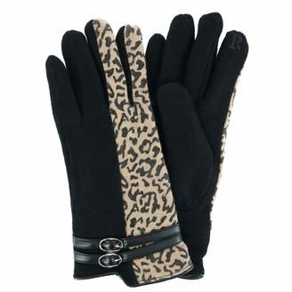 Pia Rossini Women's Leopard and Black Fashion Winter Gloves