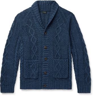 J.Crew Slim-Fit Shawl-Collar Melange Cable-Knit Cotton Cardigan