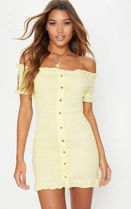 PrettyLittleThing Lemon Shirring Button Detail Bardot Bodycon Dress