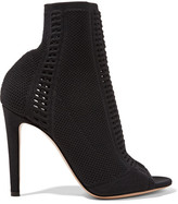 Gianvito Rossi Vires Peep-toe Perforated Stretch-knit Ankle Boots - Black