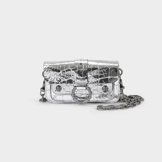 Zadig & Voltaire Kate Clutch In Black And Silver Snake Printed Leather