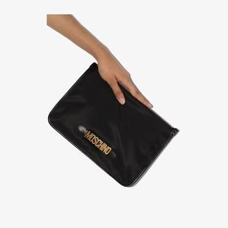 Moschino Black Logo Zip Clutch Bag
