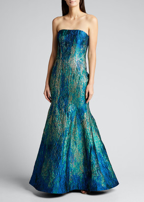 Rene Ruiz Collection Strapless Ombre Jacquard Bustier Mermaid Gown