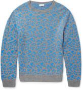 Dries Van Noten Jesper Slim-Fit Leopard-Intarsia Cashmere and Wool-Blend Sweater