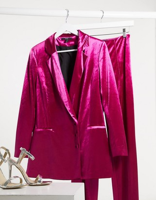 Aq/Aq AQAQ Tailored velvet jacket in fuschia