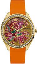 GUESS Women's Orange Silicone Strap Watch 44.5mm U0960L2