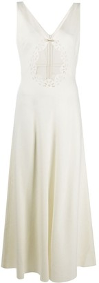 Seen Users Long Perforated-Front Dress