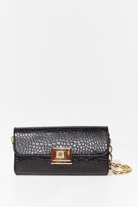 Nasty Gal Womens WANT Croc Listening Chain Shoulder Bag - Black - One Size