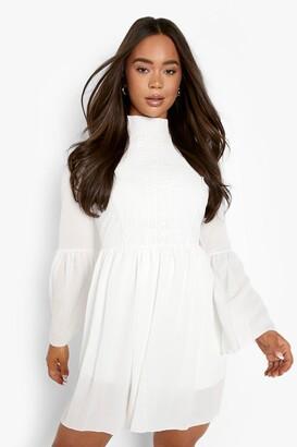 boohoo Boho Crochet Detail Wide Sleeve Smock Dress